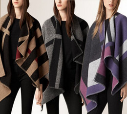Wholesale Wool Capes For Women - 2017 NEW Fashion Women Oversize Cardigan Colour Check Blanket Poncho Wool Plain Cape For Lady Free Shipping