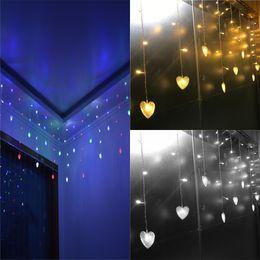 Wholesale Love String Light - Wholesale- AC 110V  220V Multicolors 3.5M 96 LEDs Love Heart LED String Strip Festival Holiday Curtain Wedding Lights Garlands 4 colors