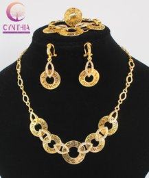 Wholesale Crystal Earrings For Sale - Hot Sale Dubai vintage luxury crystal wedding bridal african beads costume gold plated Statement jewelry sets for women