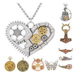Wholesale Retro Pendants - Retro Steampunk Pendant Necklace 2016 Fashion Gears Pattern Long Chain Necklace Women Men Lover Jewelry Valentine Gifts K327