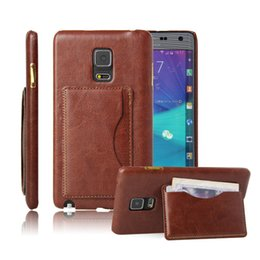 Wholesale Deluxe Flip Cases - Luxury Crazy Horse Deluxe Wallet Flip KickStand Leather Case for Samsung Galaxy Note Edge N9150 Hard Back Cover with Cash Credit Card Slot