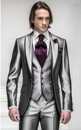 Wholesale Silver Bridegroom Suits - New Arrival Slim Fit Silver Grey Satin Groom Tuxedos Best Man Peak Lapel Groomsmen Men Wedding Suits Bridegroom (Jacket+Pants+Tie+Vest) H804