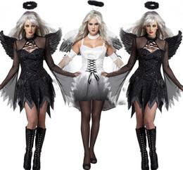 1 set taille libre vente chaude femmes sexy noir blanc diable costume costume de Halloween habiller Hen partie ange avec Wing Cosplay exotique Appare ? partir de fabricateur