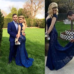 Wholesale Ladies Sexy Image - Blue Mermaid Prom Dresses Backless Deep V-neck 2016 Evening Party Gowns Open Back Style Lace Special Occasion Party Dress Country Ladies
