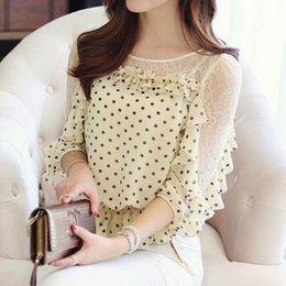 Wholesale Summer Dresses Fashion S Size - New 2014 summer Chiffon women render blouse gauze spot half sleeve loose fashion plus size lace blouse casual dress 2 color S-XL