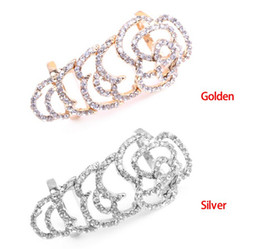 Wholesale Movable Plate - European And American Fashion Hollow Out Rhinestone Knuckle Roses Rings Stretch Movable Joint Ring Wholesale 12 Pcs