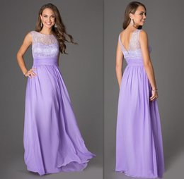 Wholesale Cheap Lilac Long Bridesmaid Dresses - 2015 Lavender Bridesmaids Dresses Sheer Cap Sleeves Wedding Guests Party Gowns A-line Long Prom Dress Sweetheart Lilac Bridesmaid Cheap