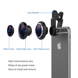 Wholesale Galaxy Lens Kit - Wholesale-Vinsic Clip On 235 Degree Fish Eye Lens, Wide Angle Lens, 3 in 1 Camera Lens Kits for iPhone 6 Plus iPhone 5 5S Samsung Galaxy