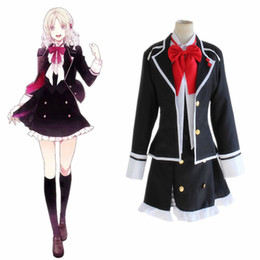 Wholesale Women Dresses Blazers - Anime Diabolik Lovers Komori Yui Cosplay Costume School Uniforms Halloween Party Dress((Blazer & Vest & Skirt & Bow)