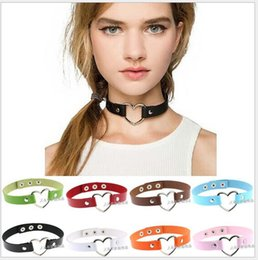 Wholesale Goth Silver Ring - 34 Color Goth Style Leather Choker Womens Alloy Heart Charm Ring Collar Funky Necklace Fashion Jewelry Handmade Valentine Gift