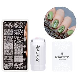 Wholesale Pattern Stamp Tool - 3Pc Stamping Tool Set 2.8cm Clear Jelly Silicone Stamper Flower Vine Stamping Plate and Nail Scraper Kit 18 Patterns