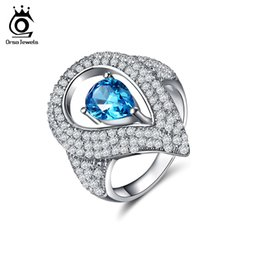 Wholesale Water Stone Color - ORSA JEWELS Luxury Women Silver Color Rings with 0.7ct Austrian Cubic Zirconia Unique Water Drop Blue Stone Rings Jewelry OR152