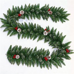 Wholesale Indoor Wreaths - Christmas Products Green Pvc Creative Plastic Christmas Indoor Decorative Wreath 270cm Christmas Pine Cones White Side Rattan