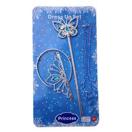 Комплект ювелирных изделий детей комплект онлайн-Золушка ювелирные изделия аксессуары наборы Корона волшебная палочка ожерелье детские дети девочки мультфильм косплей Принцесса на высоких каблуках ожерелье подарки PX-N01