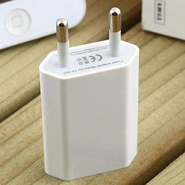 Wholesale Iphone 4s Home - EU Plug USB Power Home Wall Charger Adapter for iPhone 3GS 4G 4S 5 Hot Selling Wholesale
