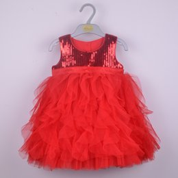 Wholesale Wholesale Sequins Dresses - Summer Girls Sleeveless Dress Sequins Princess Lace Dress Tutu Dress For 1~6 Year Kids 5 p l