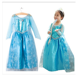 Wholesale Long Sleeve Dresses For Parties - Frozen dress costumes long sleeve skirt Princess Elsa party wear clothing for Halloween Saints'Day frozen Princess dream dress A-1601