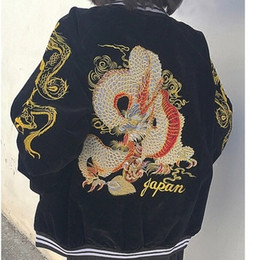 Wholesale Punk Japanese Fashion - Wholesale- Harajuku 2017 Punk Japanese Yokosuka Embroidery Dragon Zipper Bomber Baseball Jacket Lovers Jacket