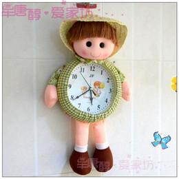 Wholesale Doll Clock - Full 68 yuan shipping plush cartoon cute doll small wall clock quartz wall clocks and watches Leisure house brand