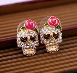 Wholesale Pink Earrings For Girls - Stud Earrings for Women girls lovely Pink Rose Rhinestone Skeleton Skull Ear Studs Earrings
