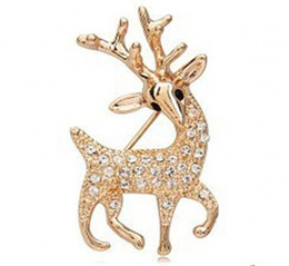 Wholesale Cheap Animal Brooches Pins - Gold Shiny Rhinestone Crystal Deer Pin Brooches Fashion Elegant Women's Jewelry Clothings Accessories Pins Brooches Cheap