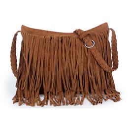 Wholesale Small Messenger Satchel - Women's Suede Weave Tassel Shoulder handbags Messenger Bag fashion Fringe satchel handbags cheap Hot Sale Z&M0605