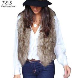 Wholesale Stylish Women Winter Coats - Stylish Ladies Women Casual Fur Vest Outwear Autumn Winter Sleeveless V-neck Faux Fur Waistcoat Gilet Coat Vest S-XXL 31