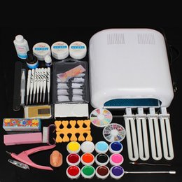 Wholesale Gel Nails Kits For Sale - Hot Sale Pro 36w White Gel Polish Cur-ing UV Dryer Lamp 12Colours Nail Art Manicure DIY Tools Brush Kit For Beauty Nails Set