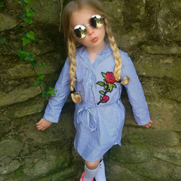 Wholesale Tutu Patterns For Girls - Girl Dress Long Sleeve T-Shirts For Kids Clothes Embroidered Flower Vertical Striped Pattern Girls Casual Dress Bowknot Belt Blue A7849
