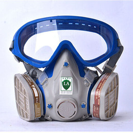 Wholesale Gas mask with glasses full face protective mask abti dust paint chemical masks activated carbon fire escape breathing apparatus
