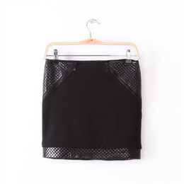 Wholesale Patchwork Tights For Women - New 2016 Women's Sexy Tight Mini Skirts Ladies Hot Fashion Black PU Leather Patchwork Zippers Slim Pencil Skirts For Women