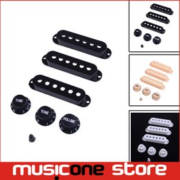 Wholesale Guitar Black Yellow - Colorful Guitar Single Coil Pickup Cover with 1 volume 2 Tone Knobs Switch Tip White Black yellow 3 color wholesale free shipping MU1234