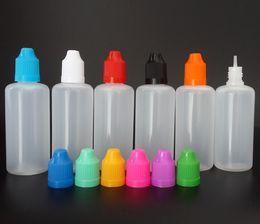 bouteilles en plastique vapeur liquide Promotion Bouteille souple compte-gouttes de PE 60ml Bouteilles d'aiguille en plastique vide avec casquettes colorées ChildProof et fins conseils pour E cig liquide jus Vape E