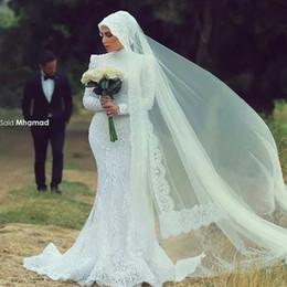 abito bianco musulmano Sconti Custom Made White Lace Collo Alto Manica Lunga Sirena Splendida Abiti Da Sposa Muslin Abiti Da Sposa Squisita Abiti Da Sposa Plus Size