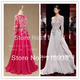 Wholesale Elie Saab Actual - 2014 Actual Real Sample Elie Saab Lace Sheer Crtystals Long Sleeves Backless Evening Prom Party Dress Gown Plus Size Custom Made