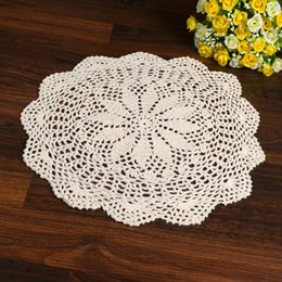 Wholesale Crochet Cup Placemat - Wholesale- LINKWELL 1PCS 100% Cotton Handmade Crochet Doily Doilies Cup Holder Mat Pad Table Coaster Tabletop Placemat 33cm Round Beige