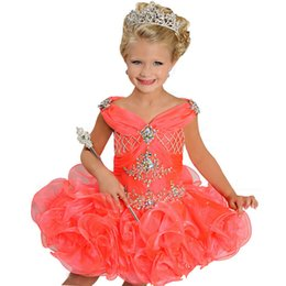 Wholesale White Organza Pageant Dresses - Shining Crystal Beaded Pageant Dresses V-Neck Sleeveless Ritzee Girls Ball Gowns Mini Short Flower Girl Dress For Wedding