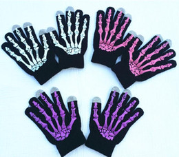 Wholesale Cell Phone Stylus Gloves - 2016 Christmas Gifts Winter Hand Warmer Halloween Skull Golves Cell phone Stylus Gloves Capacitive Screen Gloves For iphone 6s ipad