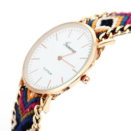 Rosa geneva online-Nuovo Relogio feminino masculino Handmade Rope Geneva Vintage Dress Dress Watch Round Gold Watches Bohemia Thread Quartz Wristwatches