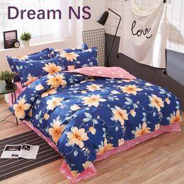 Wholesale Blue Coverlet Queen - Bohemian Bedding Set Polyester Cotton Soft Bed Linen Duvet Cover Pillowcases Bed Sheet Sets Home Textile Coverlets plant flowers pattern
