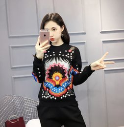 Wholesale Black Wool Belt - 2017 Winter New Pattern Round Neck Embroidery Long Sleeve Sweater Pants Knitting Woman ladies fashion cardigans for women