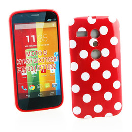 Wholesale G Dots - Wholesale 1 Piece Polka Dots Points Soft TPU Phone Cover Case For Motorola MOTO G Back Skin Phone Case Free