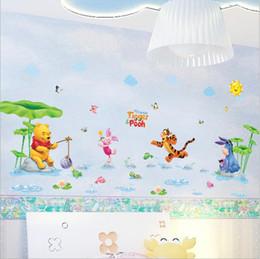 Wholesale Winnie Pooh Wall Vinyl - Environmental removable wall stickers Winnie the Pooh sticker AM7020 a rain river swimming