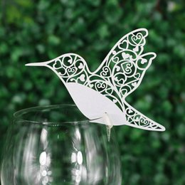 Wholesale birthday wedding wishes - 50 PCS Delicate Bird Carved Laser Cut Wine Glass Card Creative Weding Decoration Wishing Cards for Wedding Birthday Part Favor