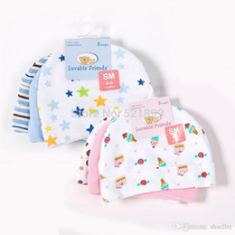 Wholesale Luvable Friends Wholesale - 3pcs lot Baby Hats Luvable Friends Pink Blue Star Printed Baby Hats & Caps for Newborn Baby Accessories A5
