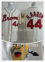 Wholesale Order Jersey Cheap - Wholesale Cheap Atlanta Braves 44 Hank Aaron 1963 Throwback Cream white blue Baseball Jerseys,Mix Orders-Free shipping size S~6XL