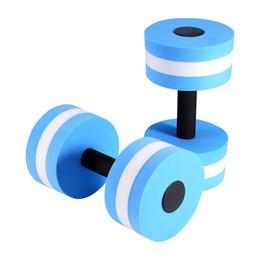 оптовые аксессуары для фитнеса Скидка Wholesale- 1 Pair Water Aerobics Dumbbell Medium tic Barbell  Fitness Pool Exercise New Sport Accessories Blue Color