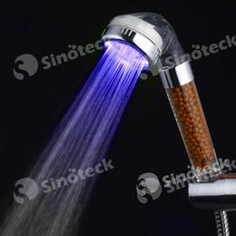 Wholesale Color Changing Handheld Shower - LED Magnetic Shower Handheld 7 Colors Changing Automatic Red Green Blue RGB Romantic 3 Color Temperature Sensor Bathroom Sprinkler Free DHL