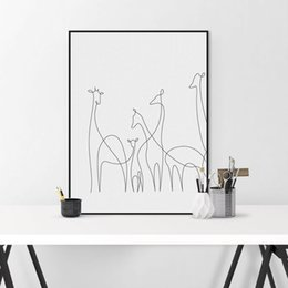 Wholesale family wall picture frames - Modern Picasso Black White Lines Canvas A4 Art Print Poster Wall Pictures Giraffe Family Living Room Home Deco Painting No Frame