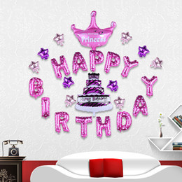 Wholesale Happy Birthday Crown - HAPPY BIRTHDAY balloon Set Letters + Cake + Star + Crown Foil balloon Set Birthay Party Backdrop Decoration Favors Kid Toy